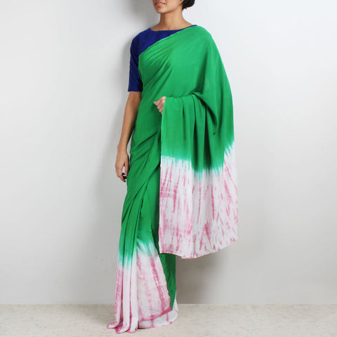 Green - Pink Tie & Dye Crepe Saree by Marigold Weaves