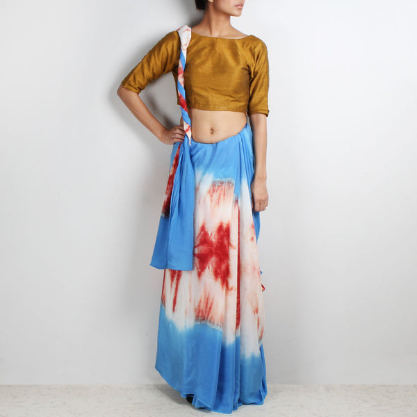 Rust - Blue Crepe Tie & Dye Saree