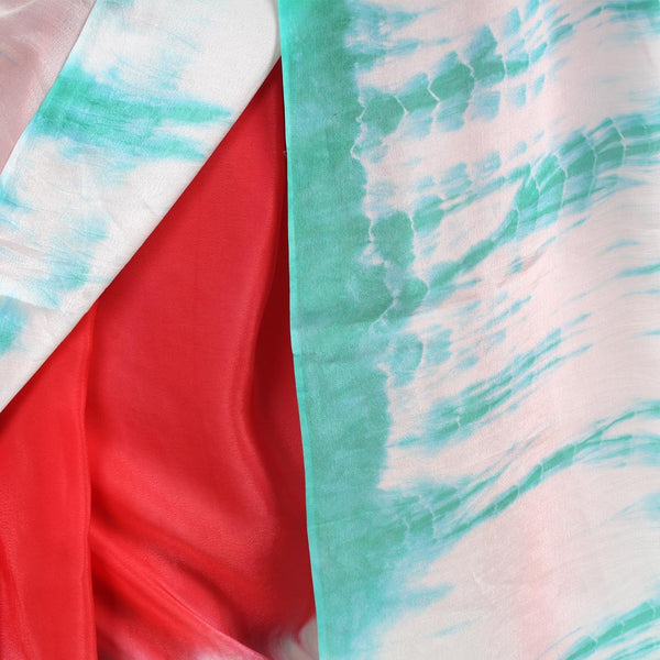 Coral Crepe Saree With Sea Green Tie & Dye Border