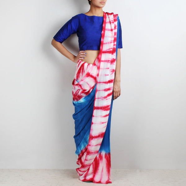 Cobalt Blue Crepe Saree With Tie & Dye Border