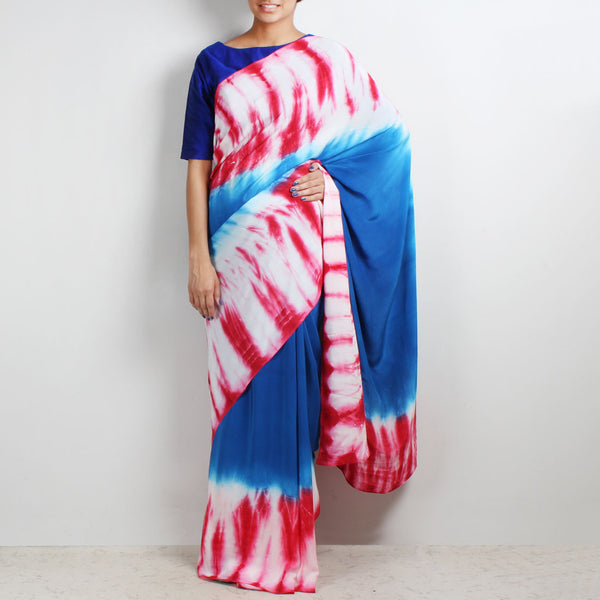 Cobalt Blue Crepe Saree With Tie & Dye Border by Marigold Weaves