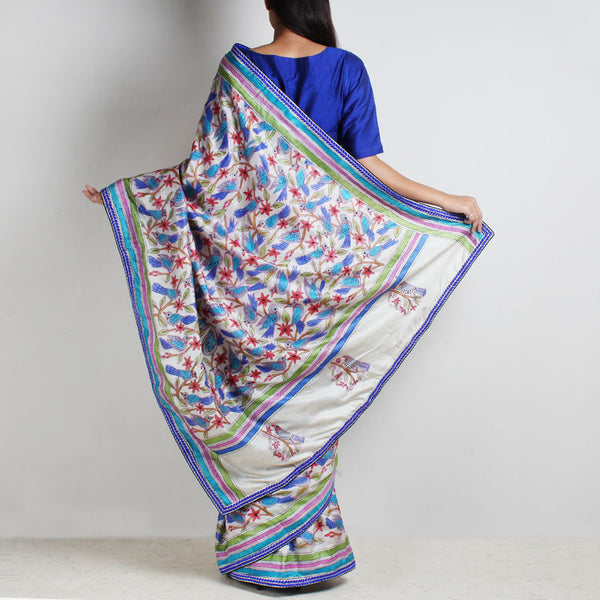Half And Half Printed Tussar Silk Kantha Sari