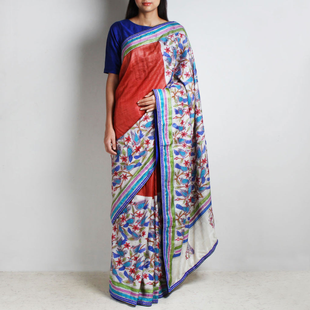 Half And Half Printed Tussar Silk Kantha Sari by MEENAKARI