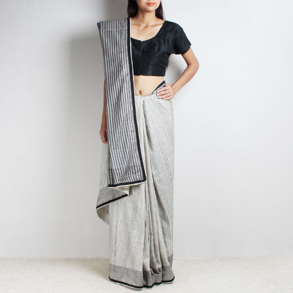 Black And White Striped Silk Sari With Kantha & Beaded Finish
