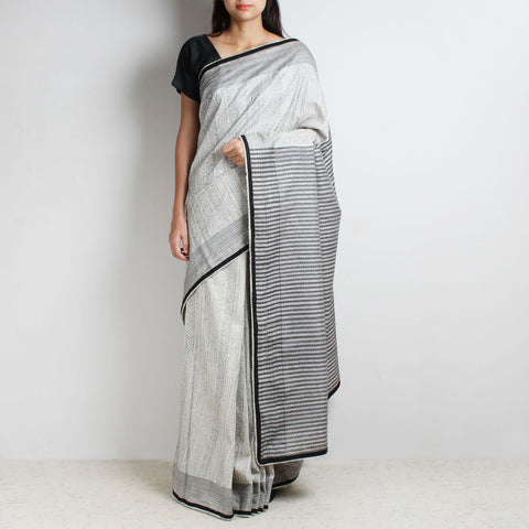 Black And White Striped Silk Sari With Kantha & Beaded Finish by MEENAKARI