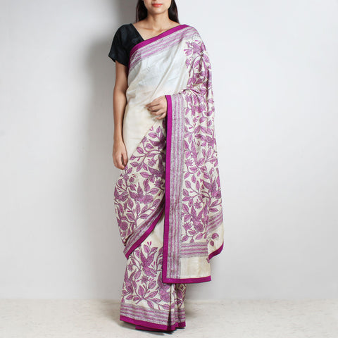 Cream Tussar Silk Sari With Purple Kantha Floral Embroidery by MEENAKARI