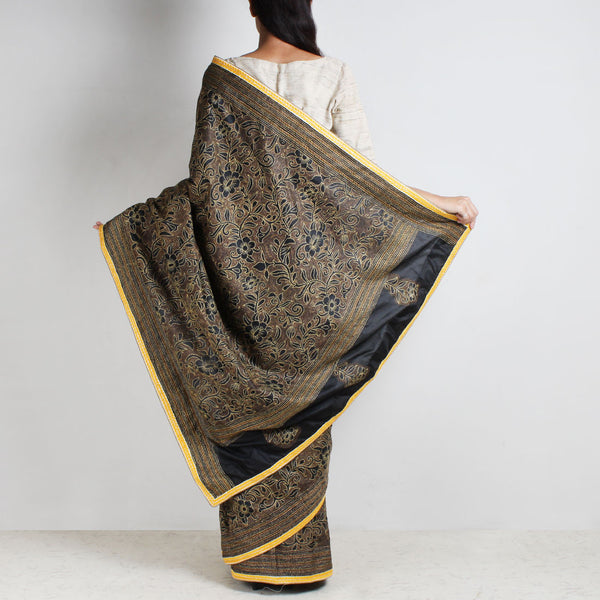 Black And Yellow Mulberry Silk Kantha Floral Embroidered Sari