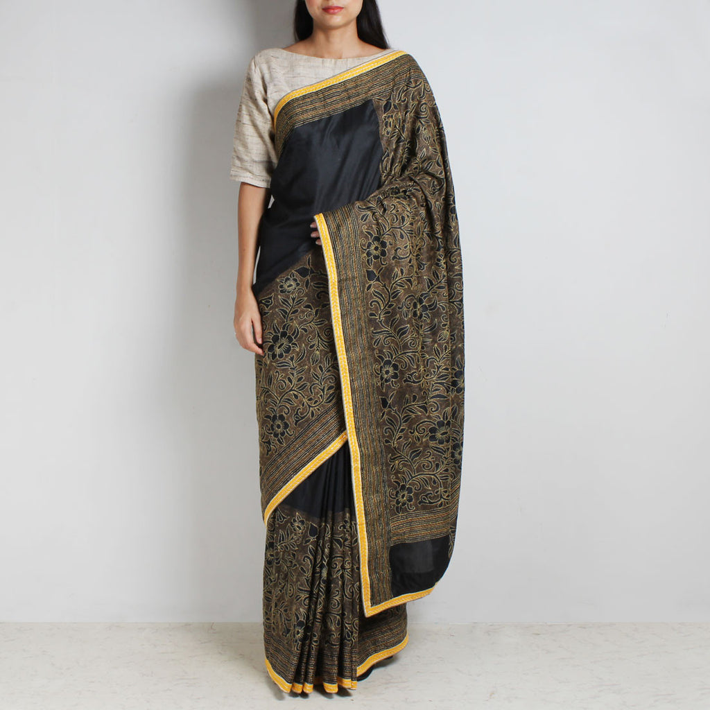 Black And Yellow Mulberry Silk Kantha Floral Embroidered Sari by MEENAKARI