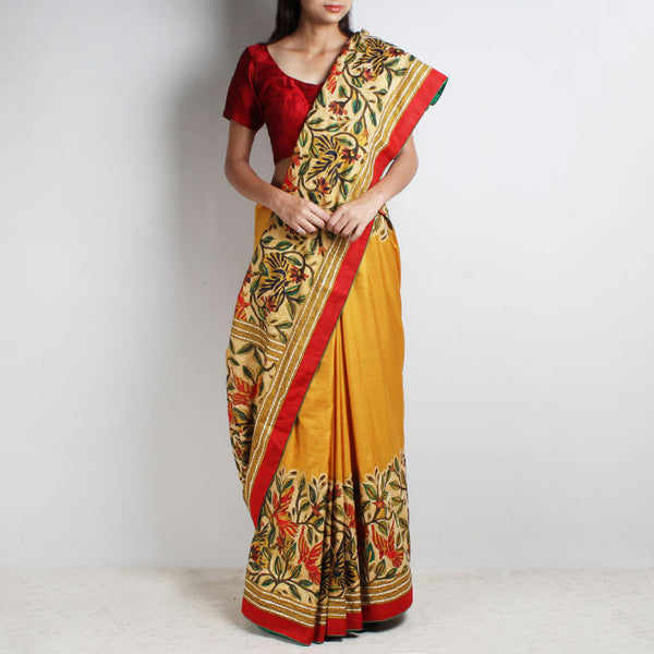 Mustard Mulberry Silk Sari With Kantha Floral Embroidery