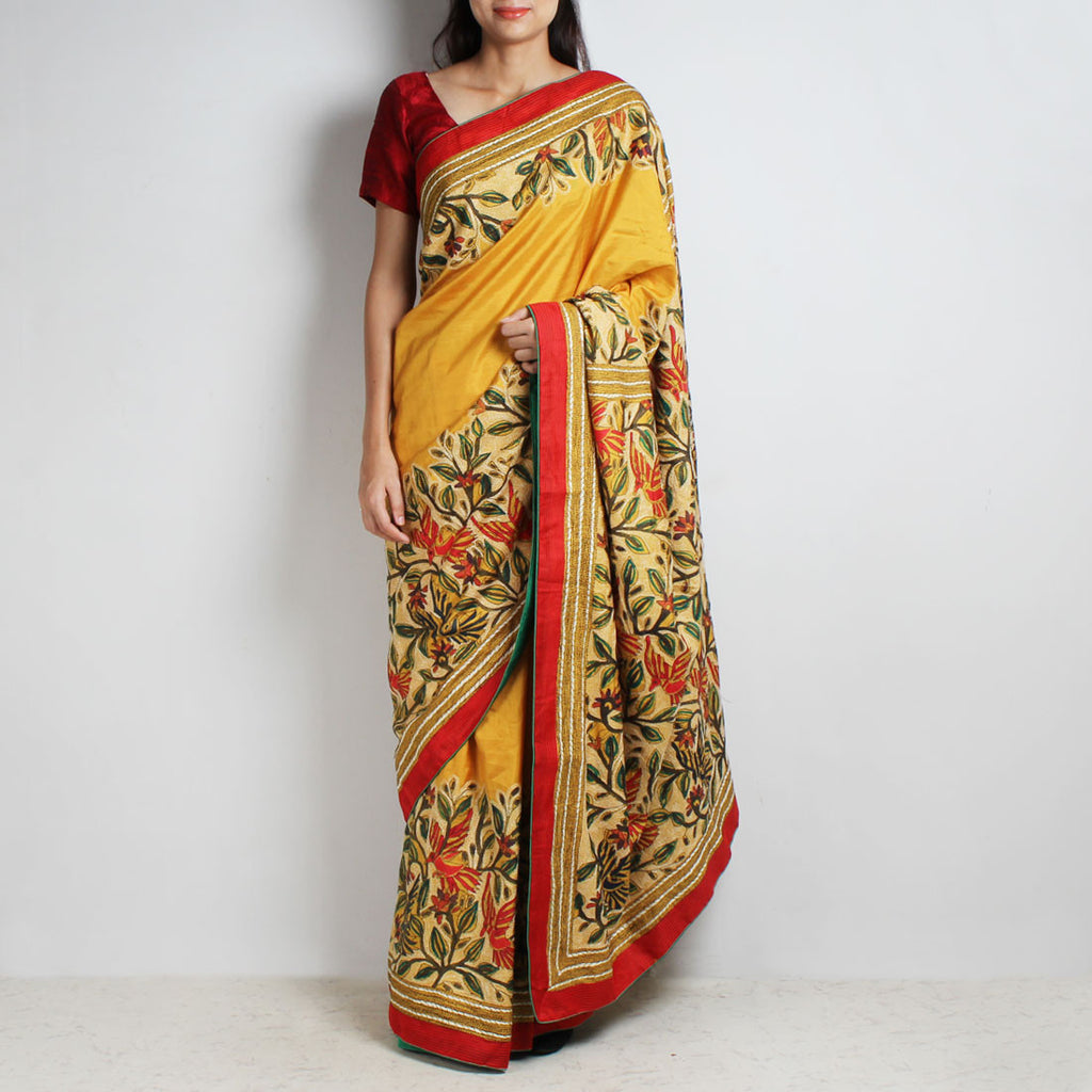 Mustard Mulberry Silk Sari With Kantha Floral Embroidery by MEENAKARI