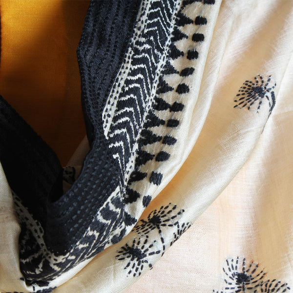 Cream Tussar Silk Dupatta With Black Kantha Embroidery And Textured Border