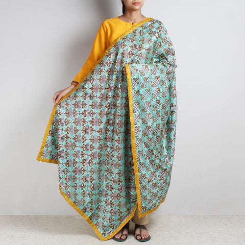 Sky Blue Printed Kantha Silk Dupatta With Textured Border by MEENAKARI