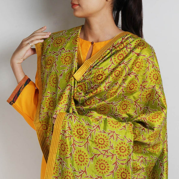 Light Green Printed Kantha Silk Dupatta With Textured Border