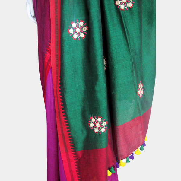 Magenta & Green Handwoven Cotton Sari