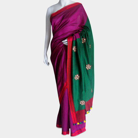 Magenta & Green Handwoven Cotton Sari by MEENAKARI