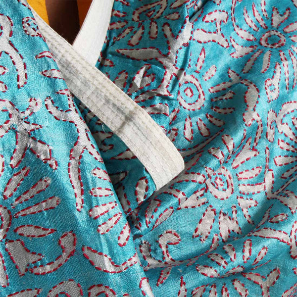 Sky Blue Printed Kantha Silk Dupatta With Textured Border