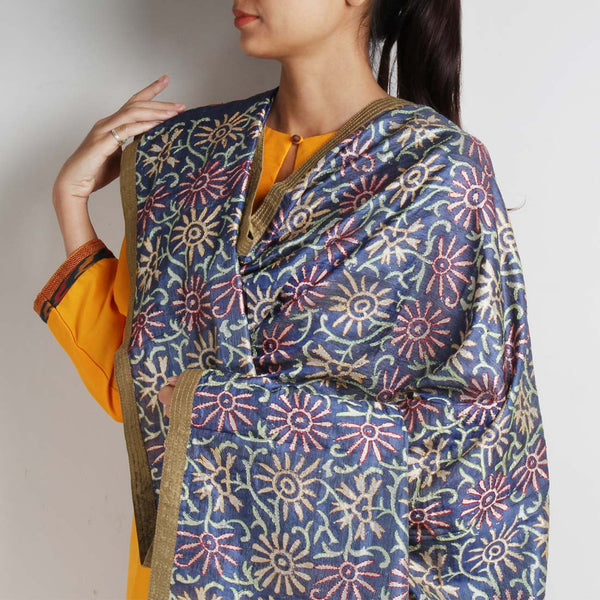 Grey Printed Kantha Silk Dupatta With Textured Border