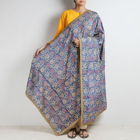 Grey Printed Kantha Silk Dupatta With Textured Border by MEENAKARI