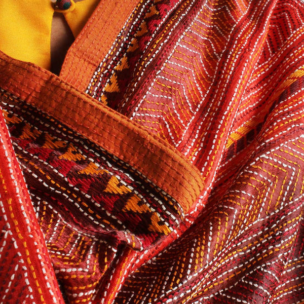 Red Silk Kantha Dupatta With Textured Border