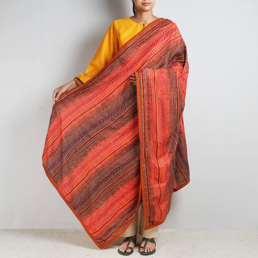 Red Silk Kantha Dupatta With Textured Border by MEENAKARI