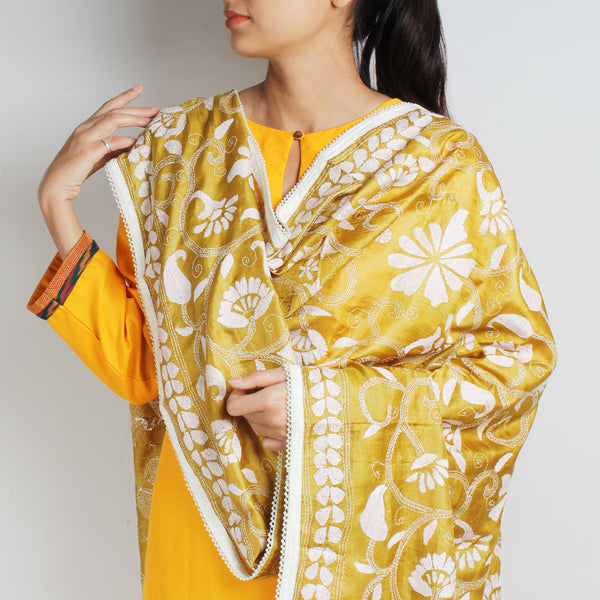 Mustard Yellow Silk Kantha Dupatta With Beaded Border