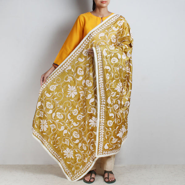 Mustard Yellow Silk Kantha Dupatta With Beaded Border by MEENAKARI