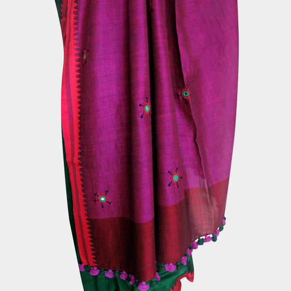 Green & Magenta Handwoven Cotton Sari