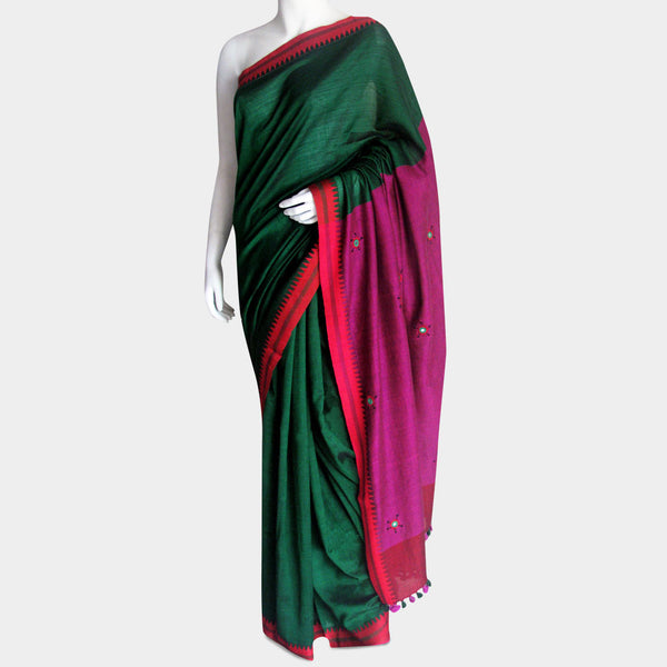 Green & Magenta Handwoven Cotton Sari by MEENAKARI