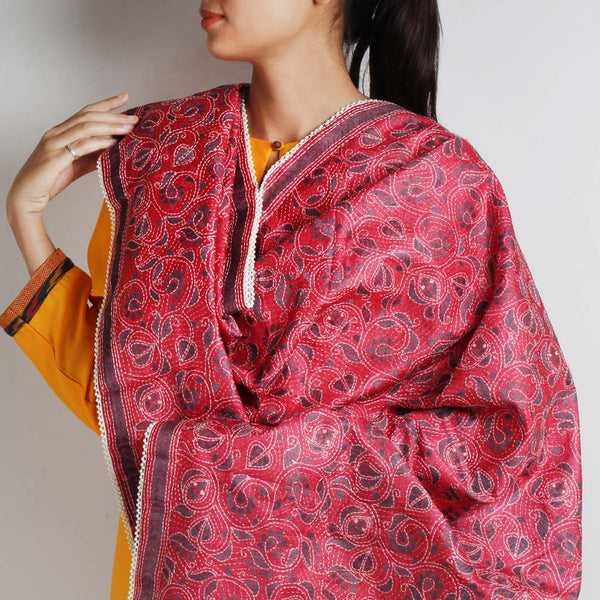 Red Silk Nakshi Kantha Silk Dupatta With Grey Embroidery With Beaded Border