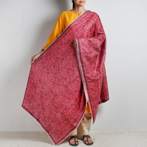 Red Silk Nakshi Kantha Silk Dupatta With Grey Embroidery With Beaded Border by MEENAKARI
