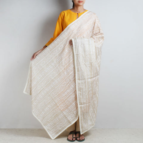Classic Off White Kantha Silk Dupatta With Beaded Border by MEENAKARI