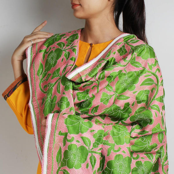 Pink Silk Dupatta With Nakshi Kantha Embroidery In Green