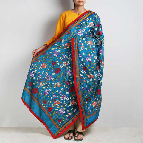 Royal Blue Nakshi Kantha Silk Dupatta With Floral Embroidery by MEENAKARI
