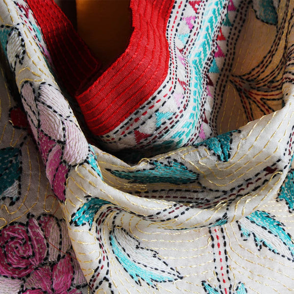 Off-White Nakshi Kantha Silk Dupatta With Floral Embroidery