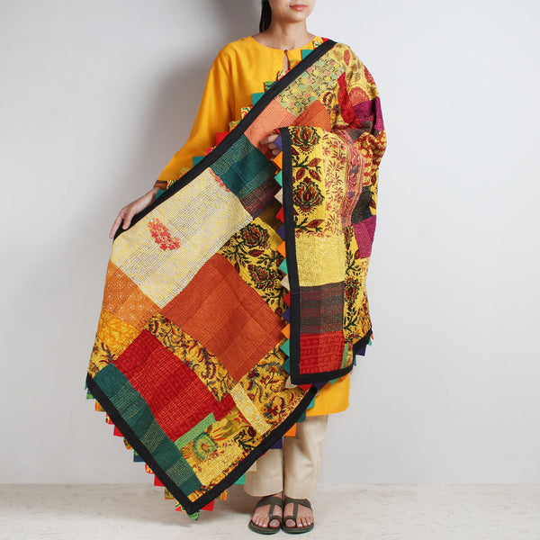 Multicolour Patchwork Cotton Dupatta With Kantha by MEENAKARI