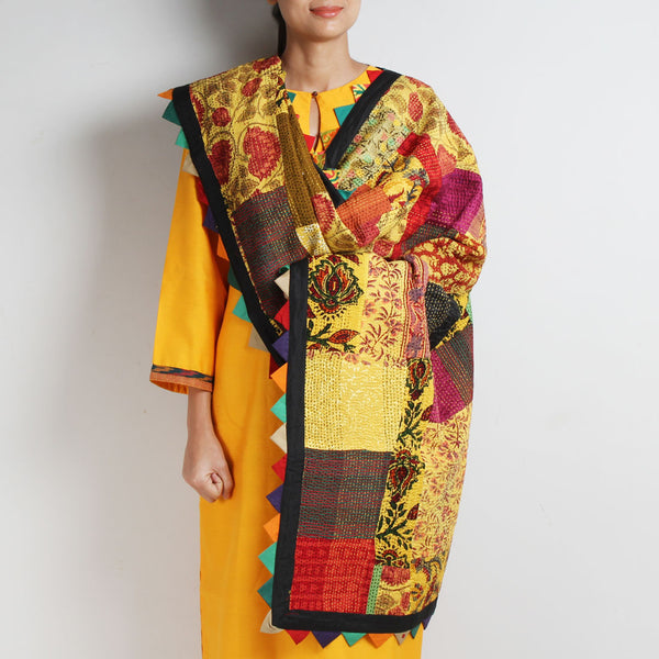 Multicolour Patchwork Cotton Dupatta With Kantha