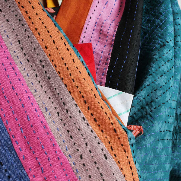 Patchwork Multicolor Cotton Dupatta With Kantha