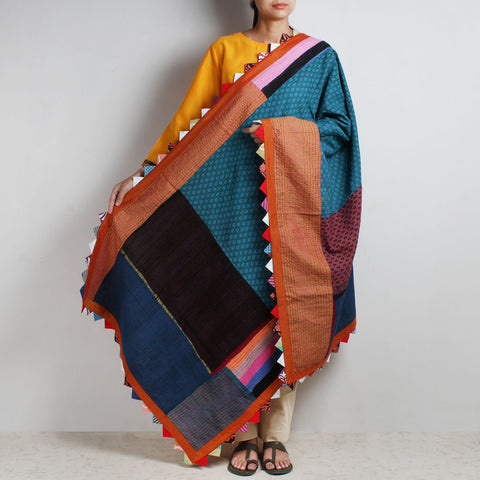 Patchwork Multicolor Cotton Dupatta With Kantha by MEENAKARI