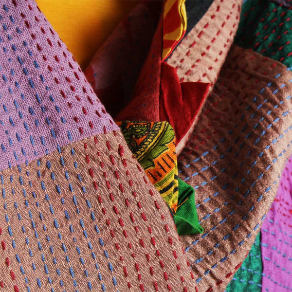 Cotton Multicolor Patchwork Dupatta With Kantha
