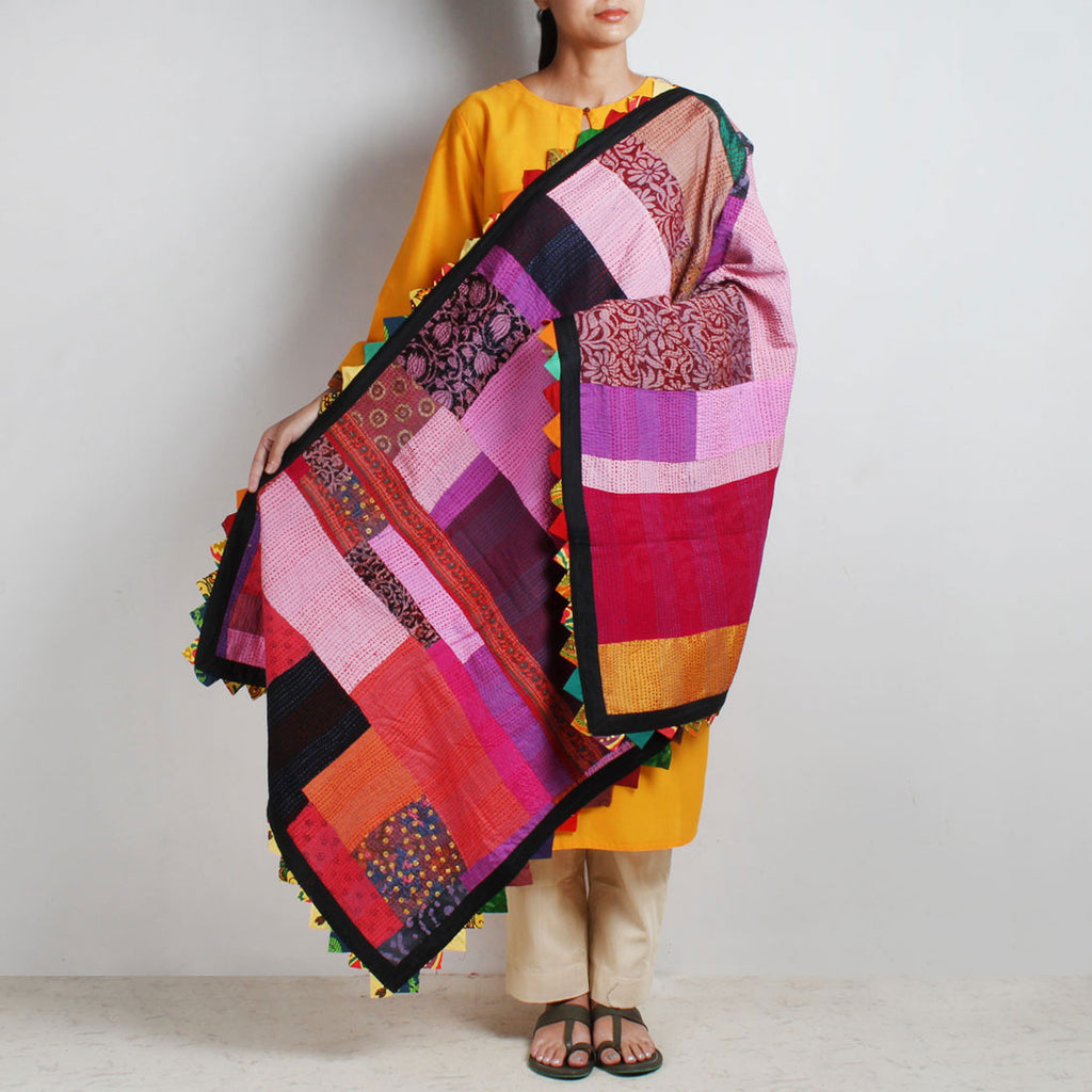 Cotton Multicolor Patchwork Dupatta With Kantha by MEENAKARI