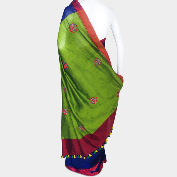 Blue & Green Handwoven Cotton Sari