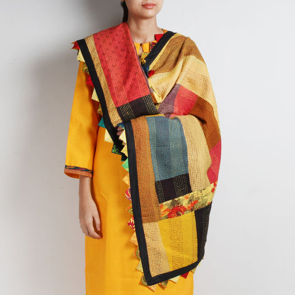 Kantha Multicolour Patchwork Cotton Dupatta