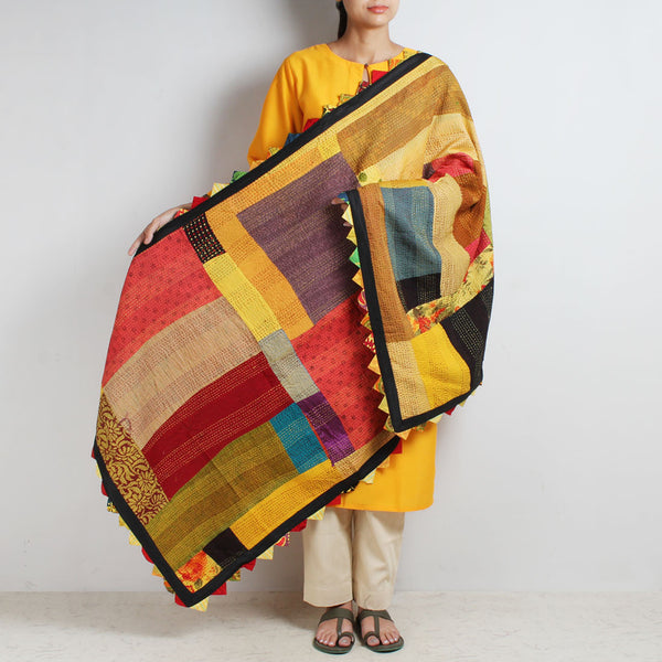 Kantha Multicolour Patchwork Cotton Dupatta by MEENAKARI