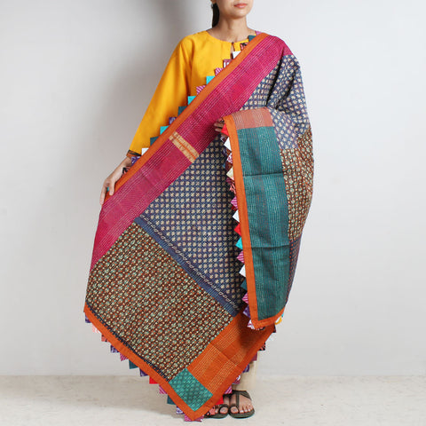 Multicolour Kantha Cotton Dupatta With Patchwork by MEENAKARI