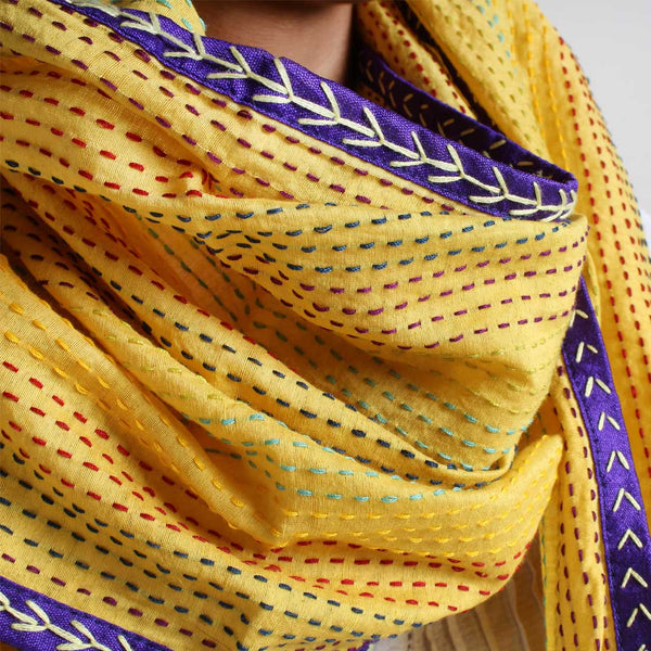 Yellow Kantha Cotton Stole With Mirrorwork Tassels