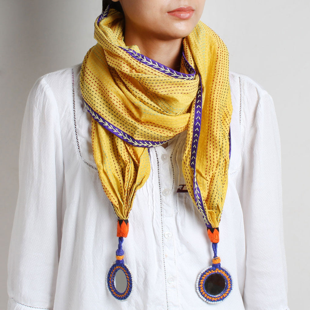 Yellow Kantha Cotton Stole With Mirrorwork Tassels by MEENAKARI