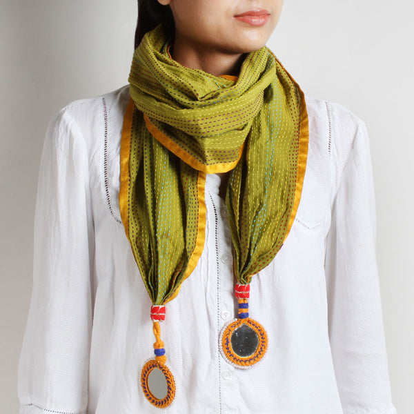 Green Kantha Cotton Stole With Mirrorwork Tassels by MEENAKARI
