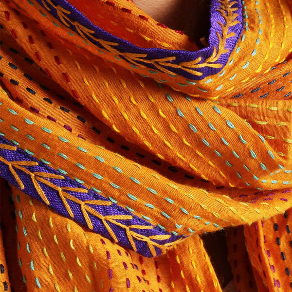Orange Kantha Cotton Stole With Mirrorwork Tassels