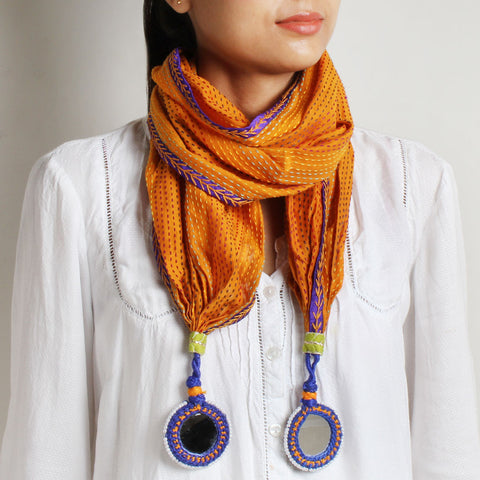 Orange Kantha Cotton Stole With Mirrorwork Tassels by MEENAKARI