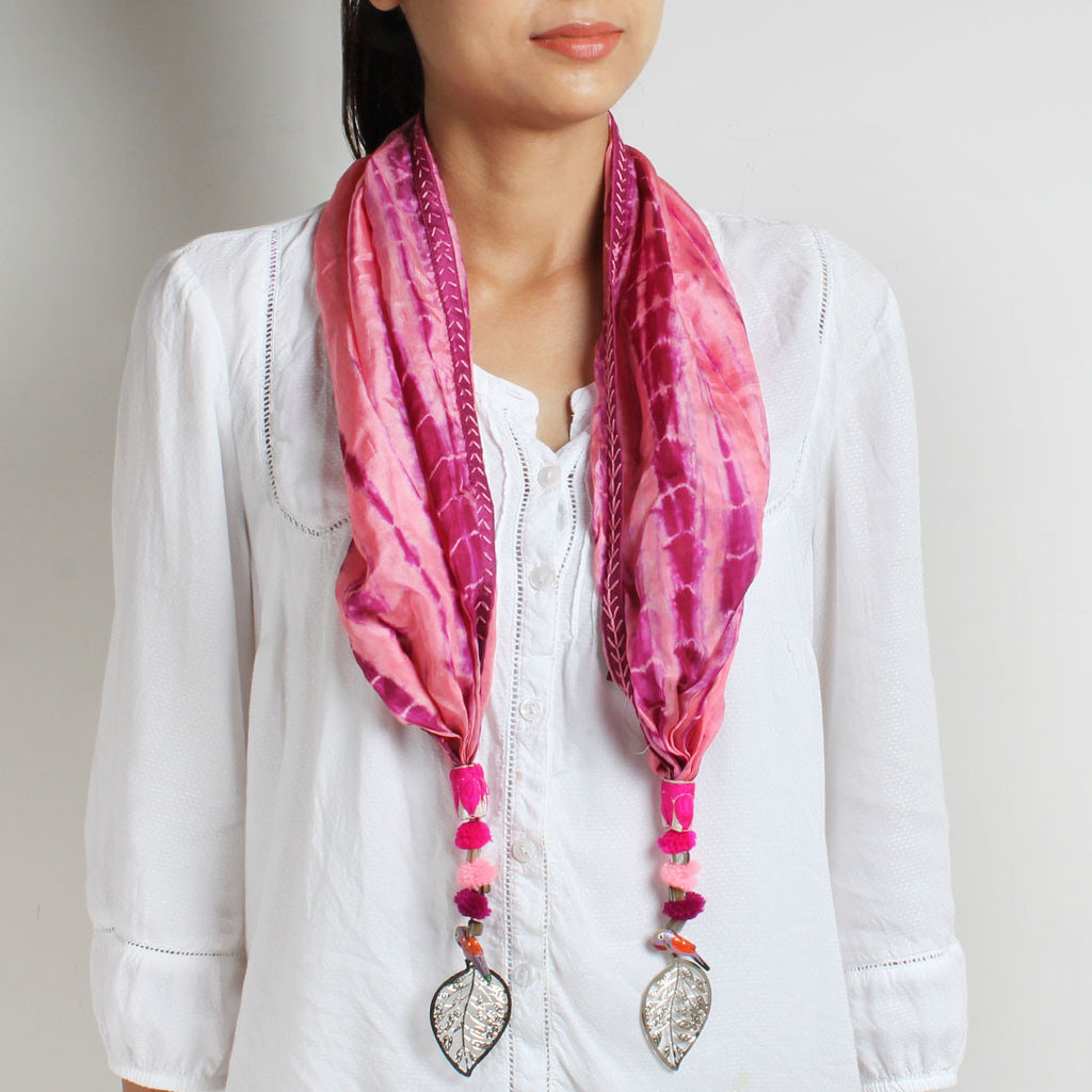 Onion Pink Shibori Silk Stole With Parrot & Leaf Tassels by MEENAKARI